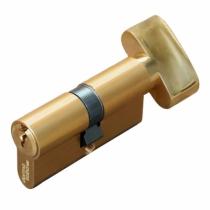 Cylindre européen 5 goupilles : Cylindre à bouton - laiton poli