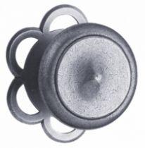 Garniture acier : Bouton de porte ø 75 mm avec rosace fixe