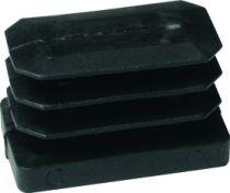 Embout de tube rectangulaire rentrant : Plastique noir