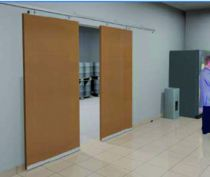 Coulissant porte intérieure bois : Porte à déplacement droit sur profil tubulaire