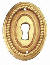 Garniture de style : Entrée pour tiroir ovale perlé laiton poli verni