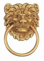 Garniture de style : Entrée pour tiroir tête de lion laiton poli verni