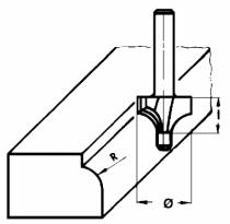 Fraise à bois : Fraise pour 1/4 de rond carbure 2 coupes